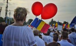 PSD miting w Bucharest, setki tysięcy ludzi w ulicie Zdjęcie Stock