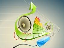 Pseudo 3D illustratie van muziek Royalty-vrije Stock Foto's