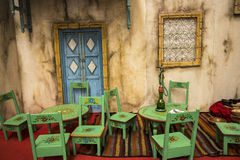 Pseudo cafe area at the Festival of the Orient in Rome Italy. The Festival of the Orient was held at the Exhibition Centre near Rome Airport at Fumincino on the Royalty Free Stock Photography