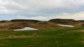 Pseudo crateri di Skutustadagigar in Islanda Fotografie Stock Libere da Diritti