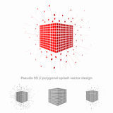 Pseudo 3d vector cube illustration with splash surrounding. Logo design for strategic planning, data protection or other business or technological spheres Royalty Free Stock Photography