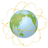 Pseudo Earth that contains the whole world map and Worldwide network, image illustration Royalty Free Stock Photography