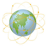 Pseudo Earth that contains the whole world map and Worldwide network, image illustration Stock Photos