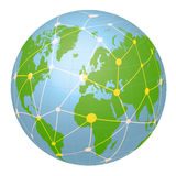 Pseudo Earth that contains the whole world map and Worldwide network, image illustration Stock Photo