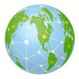 Pseudo Earth that contains the whole world map and Worldwide network, image illustration Royalty Free Stock Images