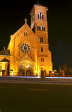 Pseudo-Gothic church at night Royalty Free Stock Images