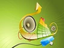 Pseudo illustrazione 3D di musica Immagini Stock