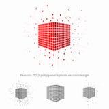 Pseudo illustrazione del cubo di vettore 3d con circondare della spruzzata Illustrazione di Stock
