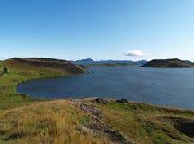 Pseudo-Krater in See Myvatn, Island stockfotografie