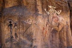 Pseudo pitture antiche della roccia Immagini Stock