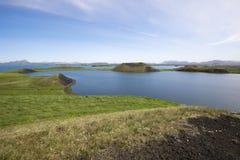 Pseudocraters på Skutustadir den omgeende sjön Myvatn, Island Royaltyfri Foto