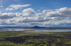 Pseudocraters and valcano mount. Lake Myvatn summer panorama fro. M Hverfjall volcanic crater. Iceland royalty free stock photo