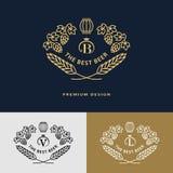 Pseudografikmonogramm Logodesignrahmen-Verzierungsschablone mit Fass Stockbild