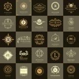 Pseudografikmonogramm Weinlese-Logo-Design-Schablonen eingestellt Geschäftszeichen Buchstabeemblem Vektorfirmenzeichen-Elementsam Stockfotos