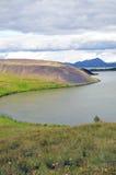 Pseudokrater in Myvatn in IJsland Stock Fotografie