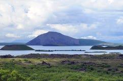 Pseudokrater in Myvatn in IJsland Royalty-vrije Stock Foto's