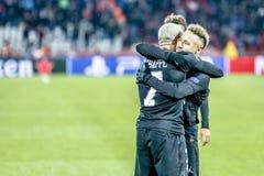 PSG-de spelers die op een UEFA Champions League vieren passen aan royalty-vrije stock afbeeldingen