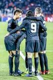 PSG-de spelers die op een UEFA Champions League vieren passen aan stock fotografie