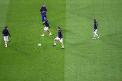 PSG en la acción antes del partido de liga de los campeones de UEFA entre la barra Fotos de archivo