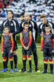 PSG football players Cavani, Neymar and Mbappe at the football field royalty free stock photo