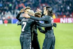 PSG players celebrating on a UEFA Champions League match. Belgrade, Serbia - December 11, 2018; PSG players Cavani, Mbappe and Neymar celebrating on a UEFA royalty free stock images