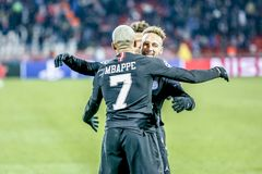 PSG players celebrating on a UEFA Champions League match. Belgrade, Serbia - December 11, 2018; PSG players Mbappe and Neymar celebrating on a UEFA Champions stock photography