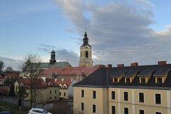 Pshemysl, Poland. Old street Przemysl, view of the church royalty free stock photos