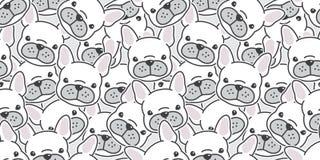 Psi bezszwowy deseniowy wektorowy szalik odizolowywający francuskiego buldoga tła kreskówki tapetowy doodle royalty ilustracja