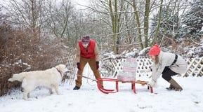 Psi ciągnięcia sanie z boże narodzenie prezentami Obrazy Royalty Free