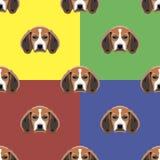 Psi czerwieni, koloru żółtego, błękitnego i zielonego wektorowy tło, bezszwowy wzoru (1) 4 przekładni Obrazy Stock
