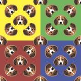 Psi czerwieni, koloru żółtego, błękitnego i zielonego wektorowy tło, bezszwowy wzoru (1) 4 przekładni Fotografia Stock