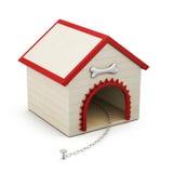 Psi dom z łańcuchem na białym tle świadczenia 3 d ilustracji