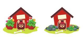 Psi dom z kwiatem ilustracja wektor