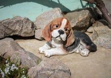 Psi figurka wystrój dla ogródu Zdjęcie Stock