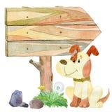 Psi i drogowy znak ilustracja wektor