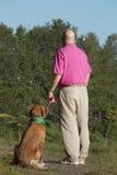 Psi i mężczyzna przyjaciele Fotografia Stock