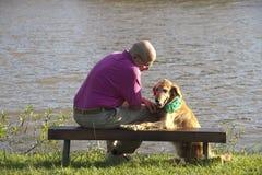 Psi i mężczyzna przyjaciele Obrazy Stock