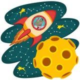 Psi kosmonauta latanie na rakiecie księżyc ilustracji