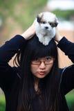 psi młode dziewczyny dziecka fotografia stock