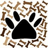 Psi odcisk stopy i kości royalty ilustracja