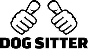 Psi opiekun z kciukami tła czerń zakończenia projekta jajko smażył niecki koszula t ilustracja wektor