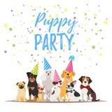 Psi przyjęcia urodzinowego kartka z pozdrowieniami ilustracji