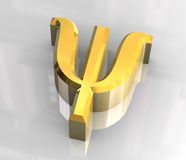 Psi symbol in gold (3d) Royalty Free Stock Photo
