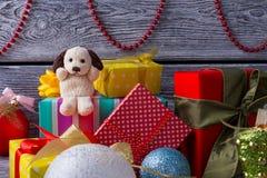 Psi zabawki i prezenta pudełka Obraz Stock