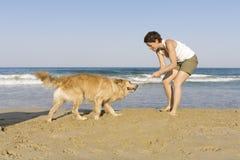 psia dziewczyno jej grać Yong Zdjęcia Stock