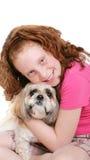 psia dziewczyno w white Zdjęcia Royalty Free