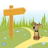 Psia i drewniana strzała na drodze Fotografia Royalty Free