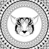Psia ikona Zwierzęcy i Ornamentacyjny drapieżnika projekt gdy dekoracyjna tło grafika stylizował wektorowe zawijas fala Zdjęcie Royalty Free