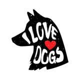 Psia ` s głowa w profilu z serca i literowania tekstem Kocham psy również zwrócić corel ilustracji wektora Obrazy Royalty Free