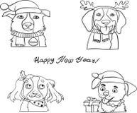Psia Szczęśliwa nowy rok kolorystyki strona zdjęcia stock